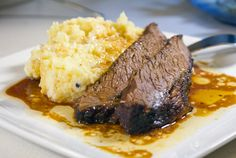 Make the Perfect Brisket and Mashed Potatoes - The cook time is really easy to remember. Preheat the oven to 350 degrees, and bake your brisket for about an hour per pound of meat. For an extra tender brisket, finish it off with another half hour at I Love Food, Good Food, Yummy Food, Tasty, Delicious Recipes, Beef Dishes, Food Dishes, Main Dishes, Meat Recipes
