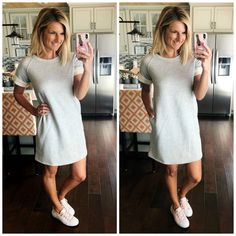 Perfect Shift dress for Spring and Summer // Grey French Terry Dress and Slip On Sneakers // Spring Fashion // Blush Sneakers Fashion In, Spring Fashion Outfits, Fashion Looks, Womens Fashion, Fashion 2020, Fashion Clothes, Fashion Trends, Spring Dresses Casual, Casual Dress Outfits
