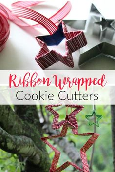 Looking for easy Christmas Crafts? Ribbon wrapped Cookie Cutters make beautiful ornaments or gift toppers and take just minutes to make.