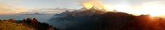 Annapurna and Dhaulagiri Ranges at Sunrise from the Top of Poon Hill Nepal[OC] [10800x2016]