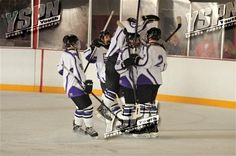 Colton and some of his teammates after one of the goals he scored