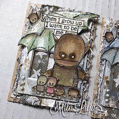 Artwork created by Milo Lilja using rubber stamps designed by Daniel Torrente for Stampotique Originals