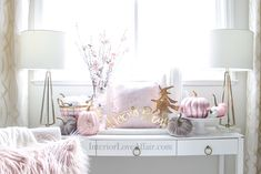 Decorate for fall with blush pink, white and gold accents! home décor; how to decorate for fall. Fall Floral Arrangements, Velvet Pumpkins, Office Decor, Blush Pink, Fall Decor, Color Schemes, Gold Accents, Pink White, Interior