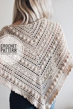 This lace triangle scarf crochet pattern for The Isla Scarf by Darling Jadore is a classic accessory! It's the perfect triangle shawl scarf crochet pattern! Bobble Crochet, Crochet Hook Set, Crochet Stitches, Easy Crochet, Crochet Lace, Crochet En Relief, Triangle En Crochet, Knitting Patterns, Crochet Patterns