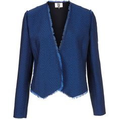 **Blue Tweed Frayed Jacket by Unique ($125) ❤ liked on Polyvore featuring outerwear, jackets, blue, tweed jacket, summer jackets, unique jackets, tailored jacket and blue jackets