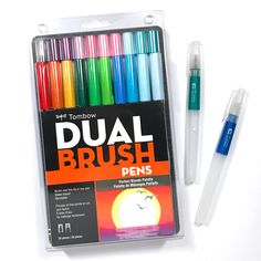 Gel Pen Art, Gel Pens, Diy Cards And Envelopes, Stationary Organization, Tombow Markers, Tombow Usa, Tombow Dual Brush Pen, Cool Paper Crafts, Stationeries