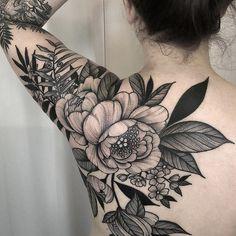 Black Flower Tattoos - Best Flower Tattoos For Women: Cute Floral Tattoo Designs. Black Flower Tattoos - Best Flower Tattoos For Women: Cute Floral Tattoo Designs and Ideas For Girls - Arm, Sleeve, Lotusblume Tattoo, Backpiece Tattoo, Tattoo Style, Cover Tattoo, True Tattoo, Self Harm Cover Up Tattoo, Armpit Tattoo, Tattoo Fonts, Mandala Tattoo