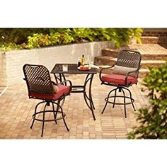 Hampton Bay Fall River 3-Piece Outdoor Patio High Dining Set with Dragon Fruit Cushion, Seats 2
