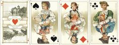the aces show famous sights of Switzerland (mountains, buildings, monuments, etc.); the court cards show traditional folklore costumes of different regions, two per card. 1910.