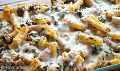 Cheesy Spinach & Chicken Bake - looks great any way but apparently is a good freezer meal and would be good for F when we are on vaca!