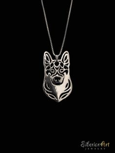 German Shepherd jewelry - sterling silver pendant and necklace. $99.00, via Etsy.