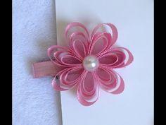 Flor de fita de Cetim ou Gorgurão - Ribbon Flower - YouTube