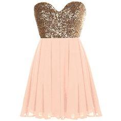 Glitter Fever Dress ($80) ❤ liked on Polyvore featuring dresses, vestidos, robe, short dresses, pink sequin dress, short gold dress, a line dress and gold dress