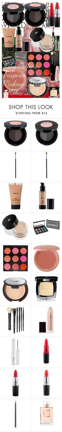 Lily Collins' Inspired Makeup Golden Globes 2017 by oroartye-1 on Polyvore featuring beauty, Bobbi Brown Cosmetics, Urban Decay, Becca, Chanel, MAC Cosmetics, Inglot, Kevyn Aucoin, Stila and It Cosmetics