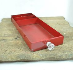 Vintage Red Compartmental Tool Box Tray with Glass Knob @justvintage2