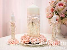 """Фото. Свадебные свечи """"Шебби Шик""""."""