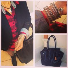 Plaid, Blazer, Tote and Bangles!  More fashion over on Instagram: EmilySarmo