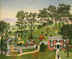 "Anna Mary Robertson ""Grandma"" Moses Apple Butter Making. Copyright © Grandma Moses Properties Co. Grandma Moses, Famous Artists, Great Artists, Illustrations, Illustration Art, Arte Popular, Naive Art, Outsider Art, American Artists"