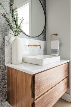 Powder Room Vanity, Modern Vanity, Modern Bathroom Vanities, Vanity Bathroom, Bathroom Designs, Bathroom Ideas, Modern Farmhouse Bathroom, Farmhouse Contemporary, Contemporary Kitchens