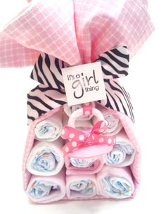 Baby Girl Shower Gift Set Baby Girl Zebra Theme Stork Bundle