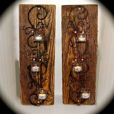 "Handmade Reclaimed Wood Sconce Pair - 3 Tiered Tea Light Iron Swirl Wall Sconces. Chunky Reclaimed Barnwood- 2 Foot Tall 8"" across 5.5"" Deep by BeachDazzled on Etsy"