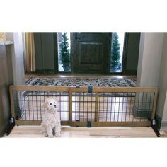 Baby Pet Dog Gate Gates Extra Wide Adjustable Free Standing Wood Home Infant New