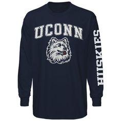 UConn Huskies Big Arch N' Logo Long Sleeve T-Shirt – Navy Blue