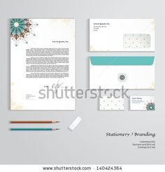Vector corporate identity templates. Oriental floral pattern on vintage background. Shabby surface. Letterhead, envelope, business card, pen...
