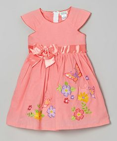 Look what I found on #zulily! Coral Bow Floral Cap-Sleeve Dress - Toddler & Girls #zulilyfinds