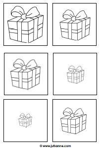 * Cadeautjes van groot naar klein! Meerdere keren op gekleurd papier, zo zijn er meerdere  opdrachten mee te doen!
