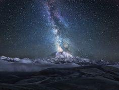 Starry night on Mount Elbrus, Russia