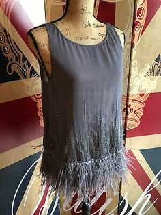 MINT VELVET Grey Sheer Dance Theatre Top Feather Sequins UK 12 Cocktail Party   eBay Silk Dress, Gorgeous Women, Black Tops, Theatre, Camisole Top, Feather, Cocktail, Sequins, Tunic Tops