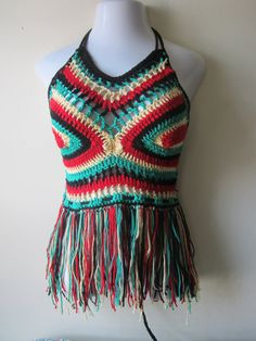 Festival top crochet fringe  halter top by Elegantcrochets on Etsy, $50