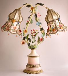 Midsummer Nights Dream Ribbonwork & Tole Table Lamp