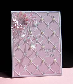 handmade love card ...  Honoring Peggy by catluvr2  ... pink and white ... all die cuts ... sparkle grid ... leaf flourish ... layered die cut flower ... delightful card!