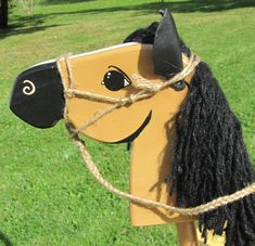 Hobby Horse Stick Buckskin With Hand Tied Rope Halter