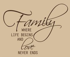 Family Where Life Begins, Family Wall Art Decal