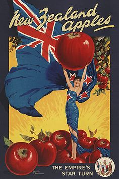 The Empire's Star Turn - advertising poster for New Zealand apples. Reproduction available from www.imagevault.co.nz