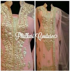 Love the gota pati detailing and romantic color combination of this suit by Phulkari Couture.