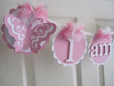 Butterfly I Am One Banner....Happy Birthday Banner....Princess Banner...Photo Prop....Can Be Customized To The Color Of Your Choice