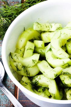 This Cool Cucumber and Dill Salad is so simple yet so incredibly flavorful. Very fresh and always the first to go at a picnic, BBQ or brunch. Creamy Cucumber Tomato Salad, German Cucumber Salad, Cucumber Recipes, Salad Recipes, Drink Recipes, Cooking Recipes, Healthy Recipes, Healthy Eats, Healthy Foods