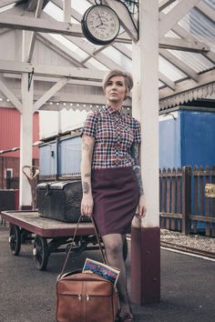 Munkispanner 2015 spring summer collection - multicoloured checked shirt and tonic skirt Chica Skinhead, Skinhead Girl, Skinhead Fashion, Skinhead Clothing, Mod Fashion, Girl Fashion, Dr. Martens, Mod Girl, Mod Dress