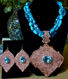 FANTASY Turquoise Topaz Copper Pendant by MicheleMilanoJewelry, $475.00