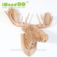 Creative animal head wall decor, modern farmhouse decor, iwood crafts, Guangzhou China