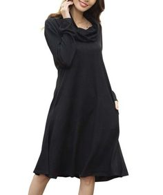 Another great find on #zulily! Black Oversize Cowl Neck Dress - Plus Too #zulilyfinds