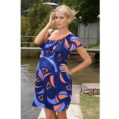 Lilly B Womens Blue Orange One Shoulder Maternity « Clothing Adds Anytime
