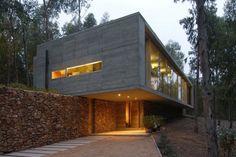flachdachhaus chile waldlandschaft exterieur eingang beleuchtung
