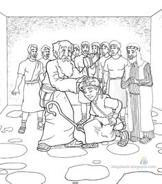 Samuel anointing David king Bible coloring pages