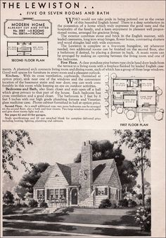 My house! -- Century American Residential Architecture - 1936 Sears Roebuck Kit Homes - Lewiston - English Cottage Style - English Cottage Style, English House, English Tudor, English Style, Attic Renovation, Attic Remodel, Sears Catalog Homes, Architecture Résidentielle, Vintage House Plans