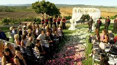 On August 22, 2014, Natalie Marie Nelson (WWE Diva Eva Marie) married Jonathan Coyle at Viansa Winery in Sonoma, California. Their wedding party, dressed in black with red flowers, stand before the gorgeous setting of the nuptials.